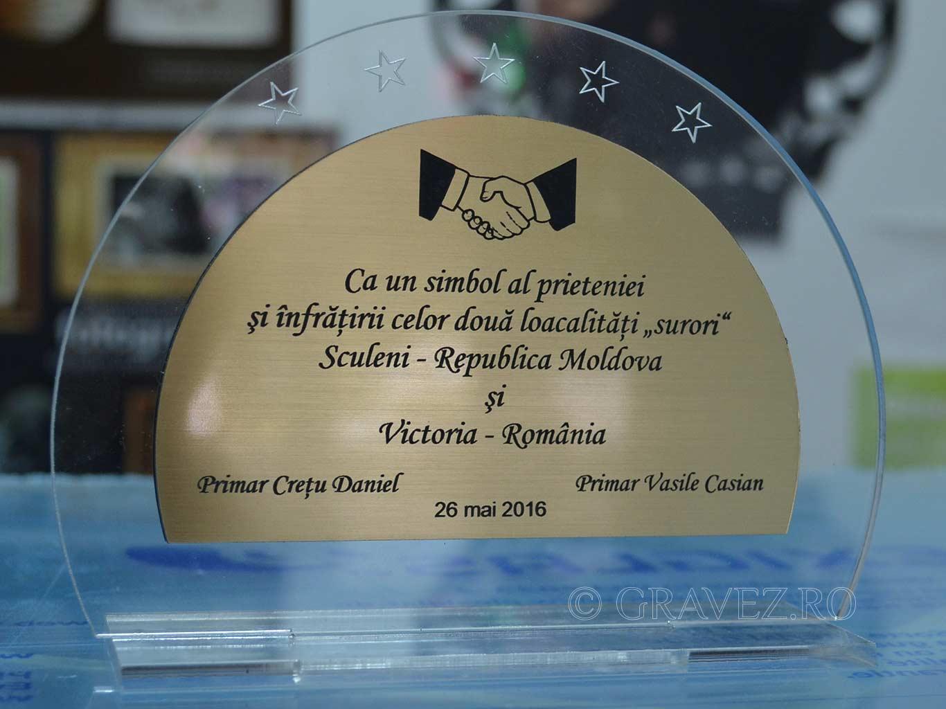 trofe acril metalex pe acril transparent