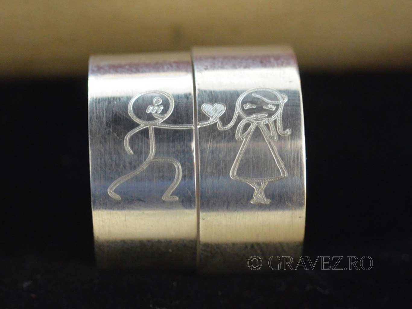 gravura verighete din argint